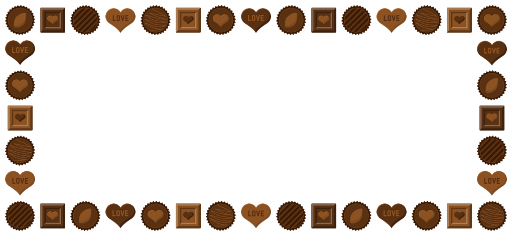 バレンタインチョコレートのフレーム飾り枠イラスト(W1000×H450px)