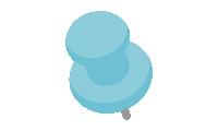ダルマ型画鋲(押しピン)のイラスト素材<水色>(W80×H100px)