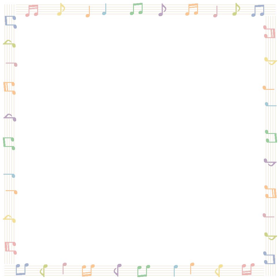 音符と五線譜(楽譜)のフレーム飾り枠イラスト<直線>(W950×H950px)