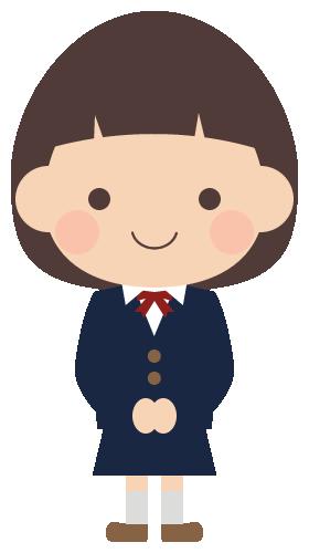 学生服(紺ブレザー)を着た女子中学生のイラスト(W260×H480px)