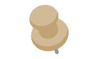 ダルマ型画鋲(押しピン)のイラスト素材<茶色>(W80×H100px)