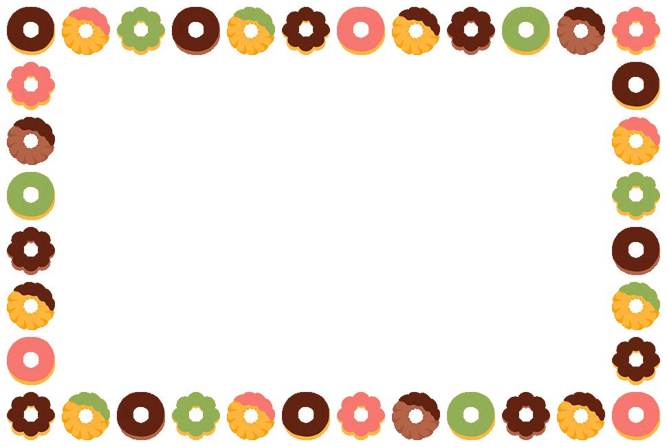 ドーナツのフレーム飾り枠イラスト(W950×H630px)