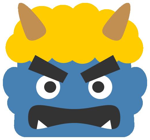 怒った青鬼のイラスト<黄色い髪>(W500×H465px)