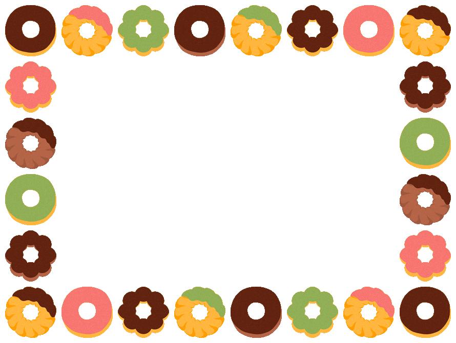 ミスド風ドーナツのフレーム飾り枠イラストチョコレート抹茶いちご