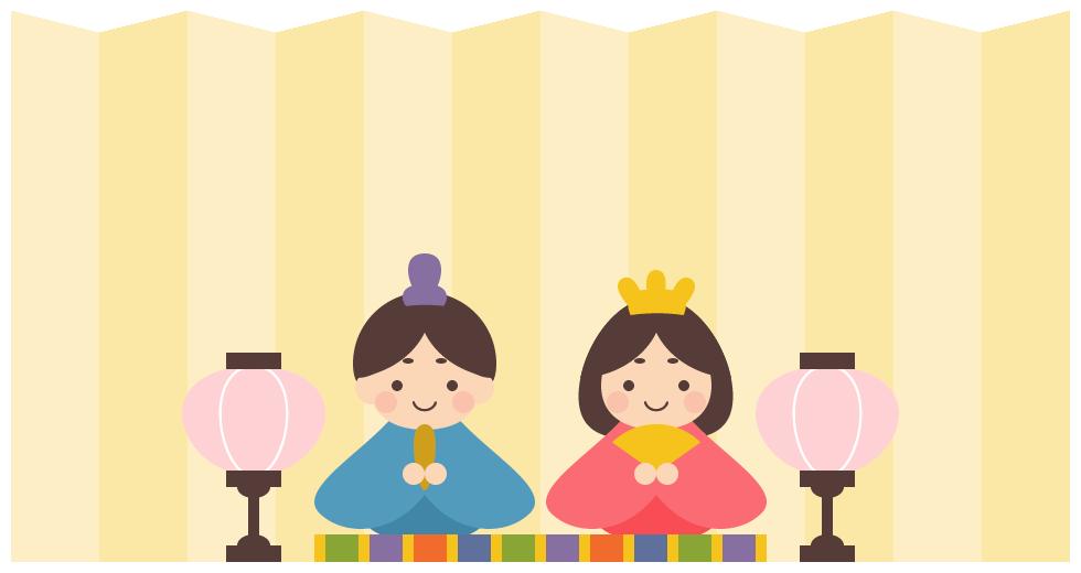 ひな人形と金屏風の背景フレーム飾り枠(W960×H500px)
