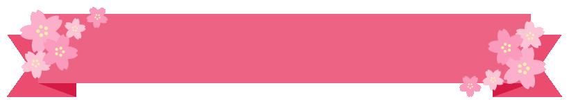 桜のリボンフレームイラスト<ピンク色>(W800×H130px)