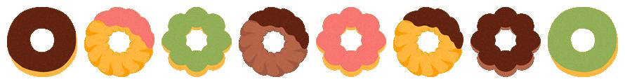 ドーナツのライン飾り罫線イラスト(W870×H100px)