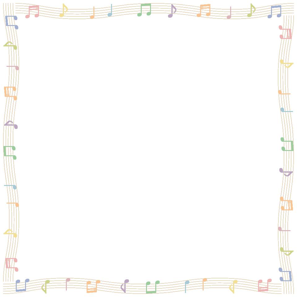 音符と五線譜(楽譜)のフレーム飾り枠イラスト<波線> | 無料フリー