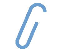 紙に挟んだゼムクリップのイラスト素材<青>(W100×H150px)