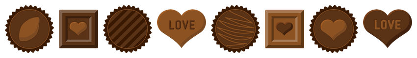 バレンタインチョコレートのライン飾り罫線イラスト(W830×H100px)