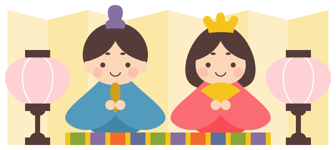 ひな飾りのイラスト<雛人形・ぼんぼり・金屏風>(W650×H280px)