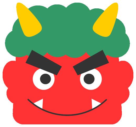笑った赤鬼のイラスト<緑色の髪>(W500×H465px)