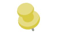 ダルマ型画鋲(押しピン)のイラスト素材<黄色・イエロー>(W80×H100px)
