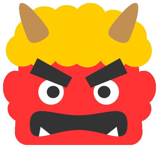怒った赤鬼のイラスト<黄色い髪>(W500×H465px)