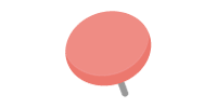 二重画鋲(押しピン)のイラスト素材<ピンク>(W80×H80px)