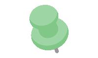 ダルマ型画鋲(押しピン)のイラスト素材<緑・グリーン>(W80×H100px)