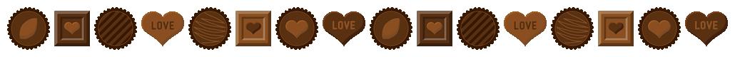 バレンタインチョコレートのライン飾り罫線イラスト(W1010×H60px)