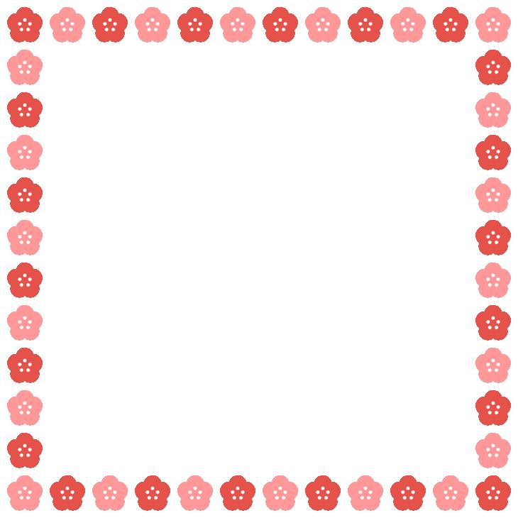 梅の花のフレーム飾り枠イラスト<正方形>(W710×H710px)