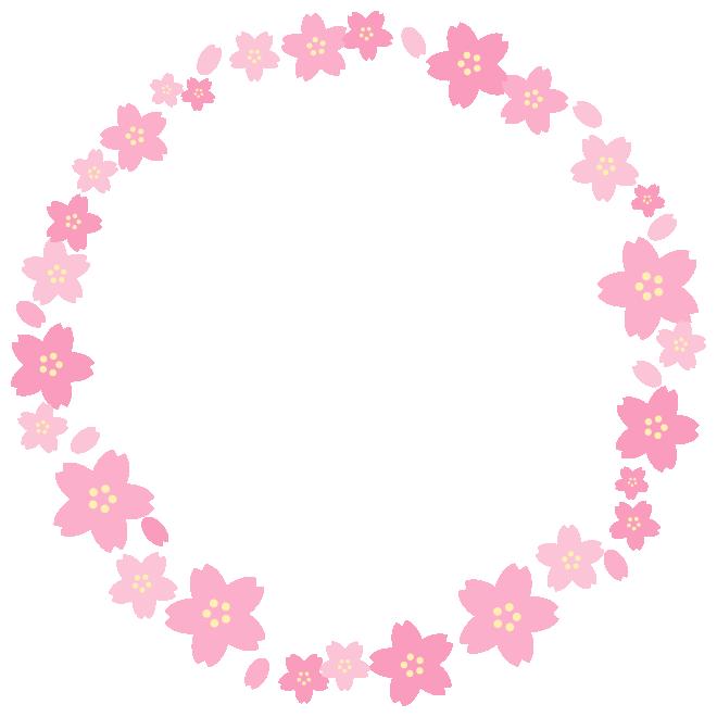 桜の丸型(円形)フレーム飾り枠イラスト(W640×H640px)