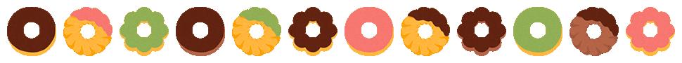 ドーナツのライン飾り罫線イラスト(W950×H70px)