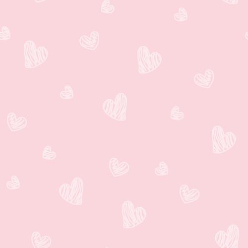 手書き風ハートのシルエットイラスト背景パターン<ピンク色>(W500×H500px)