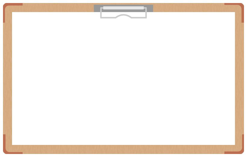 茶色のバインダー(クリップボード)のフレーム飾り枠イラスト<無地>(W800×H500px)