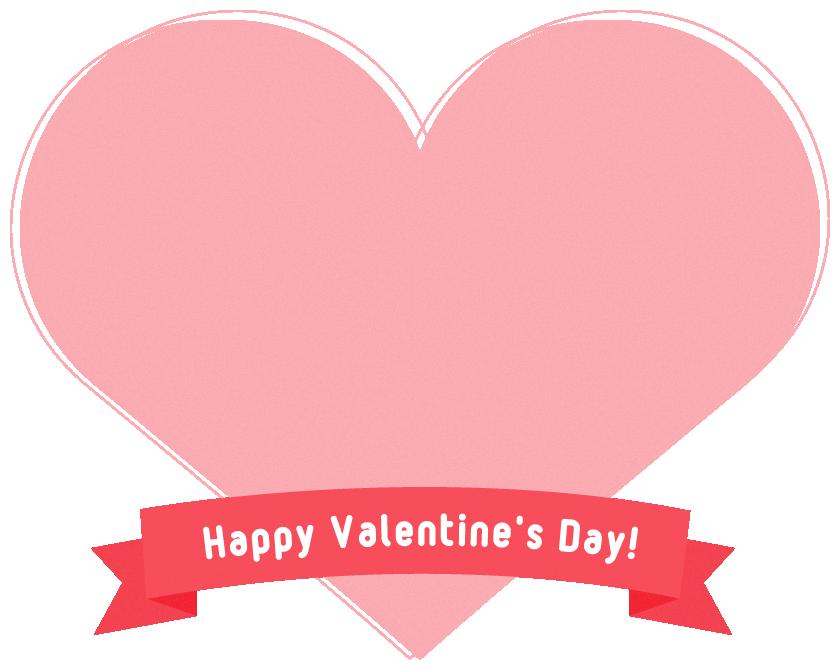 【バレンタインのイラスト】リボン付きハート型のフレーム飾り枠<ピンク色>(W820×H650px)