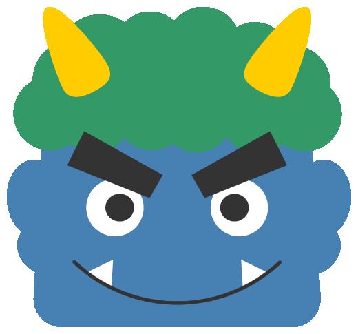 笑った青鬼のイラスト<緑色の髪>(W500×H465px)