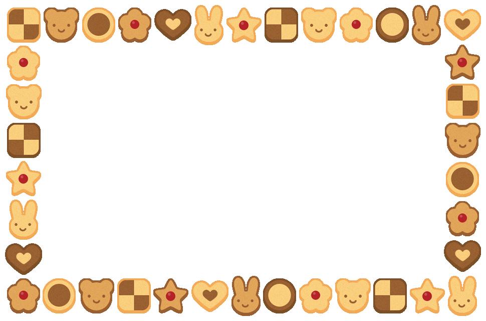 クッキーのフレーム飾り枠イラスト(W950×H620px)