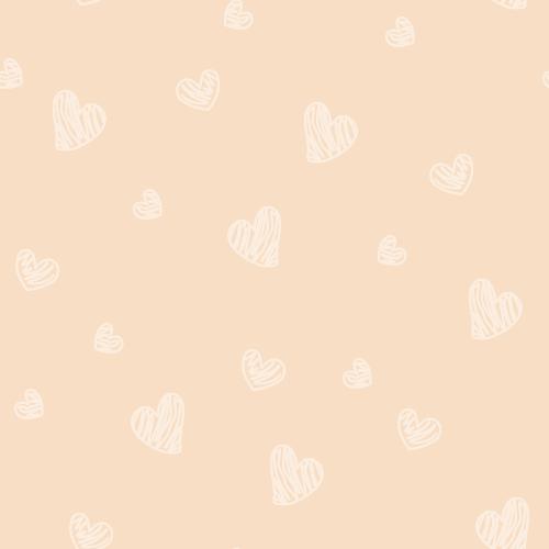手書き風ハートのシルエットイラスト背景パターン<ベージュ>(W500×H500px)