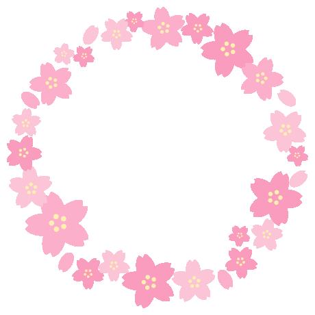 桜の丸型(円形)フレーム飾り枠イラスト(W440×H440px)