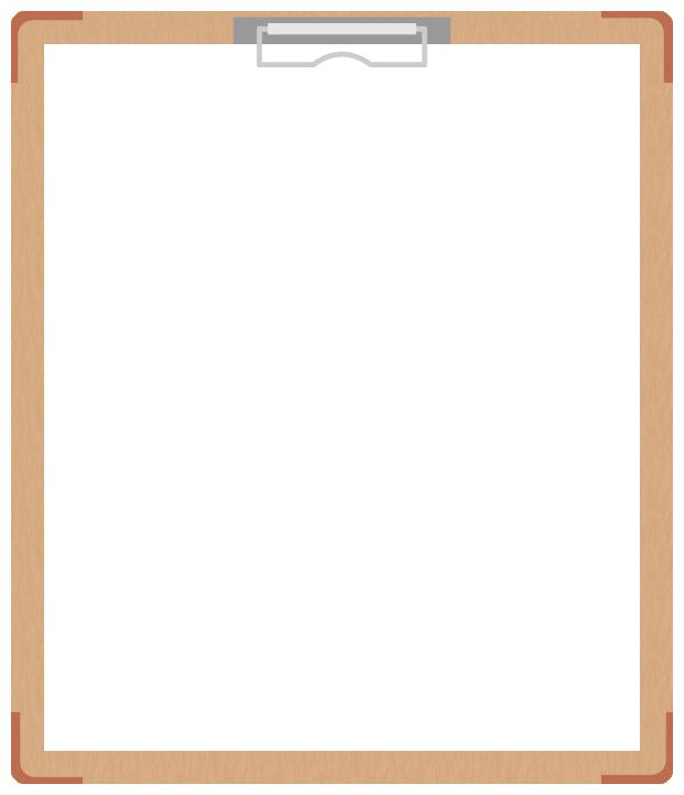 茶色のバインダー(クリップボード)のフレーム飾り枠イラスト<無地>(W600×H700px)