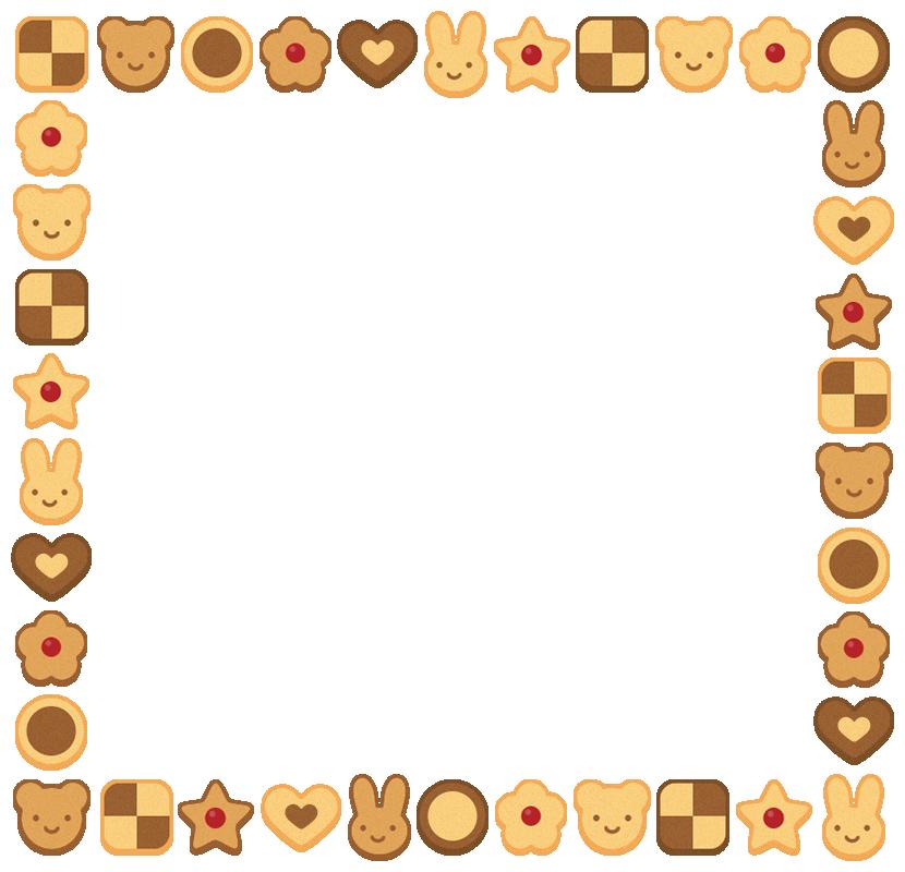 クッキーのフレーム飾り枠イラスト(W810×H780px)