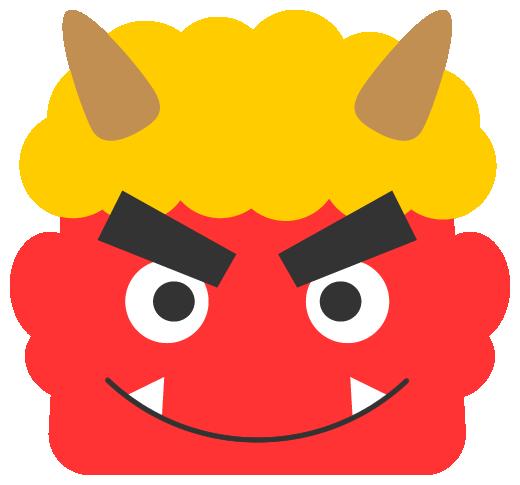 笑顔の赤鬼イラスト<黄色い髪>(W500×H465px)