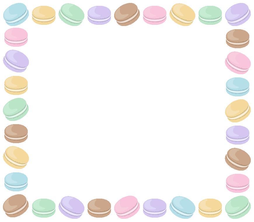 マカロンのフレーム飾り枠イラスト(W850×H740px)