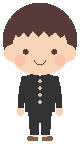 かわいい人物イラスト学生服学ランブレザーを着た中学生の男の子