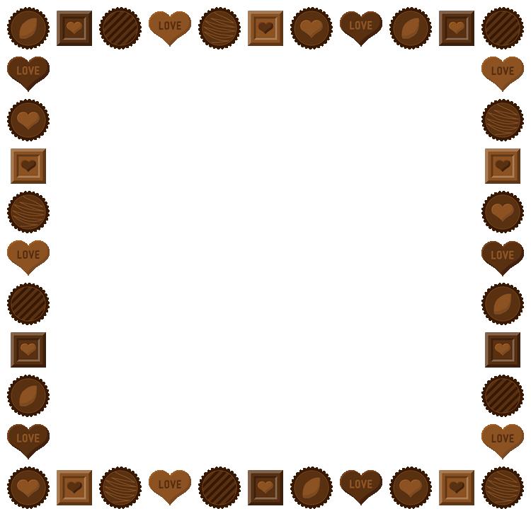バレンタインチョコレートのフレーム飾り枠イラスト(W730×H710px)