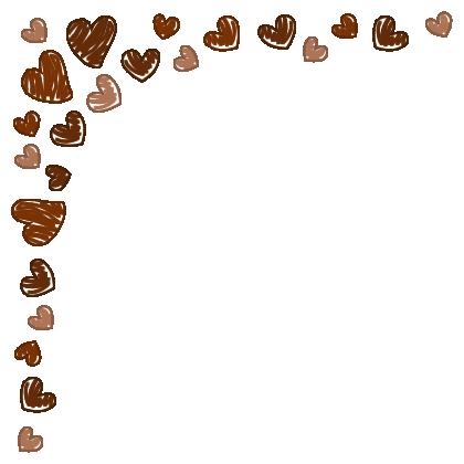 手書き風ハートのコーナーフレーム飾り枠イラスト<チョコレートカラー>(W400×H400px)