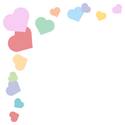 ハートのコーナーフレーム飾り枠イラスト<パステルカラー>(W400×H400px)