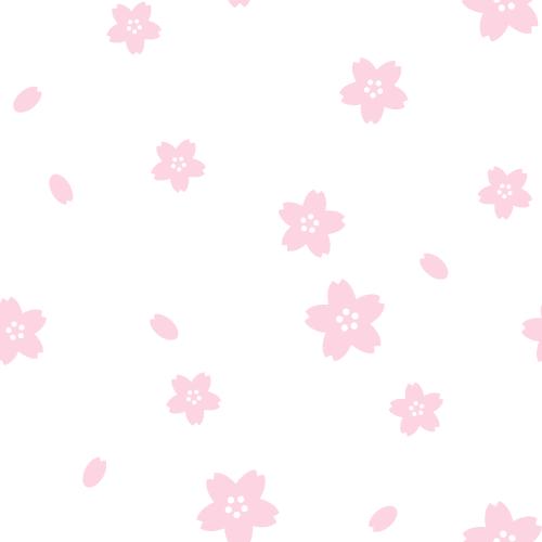桜のシームレス背景パターン<白色>(W500×H500px)