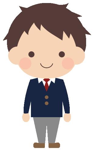 学生服(紺ブレザー)を着た男子高校生のイラスト(W290×H480px)