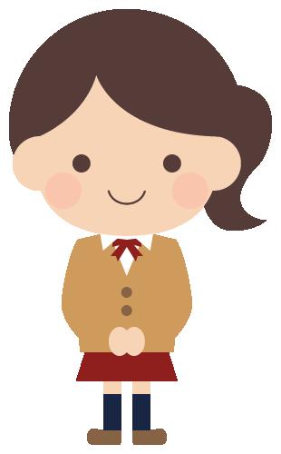 学生服を着た女子高校生のイラスト(W290×H480px)