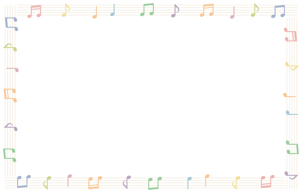 音符と五線譜(楽譜)のフレーム飾り枠イラスト<直線>(W950×H600px)