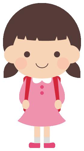 ランドセルを背負った小学生の女の子のイラスト(W260×H480px)