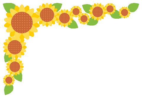 向日葵(ヒマワリ)のコーナーフレーム飾り枠イラスト(W460×H310px)