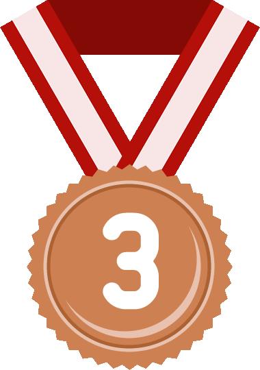 銅メダル(3位)のフラットイラスト