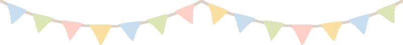 三角フラッグ(アーチ型)のライン飾り罫線イラスト(W800×H90px)