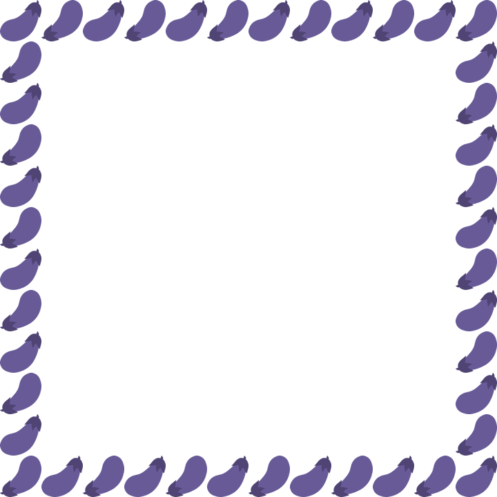 茄子(ナス・なすび)のフレーム飾り枠イラスト<正方形>