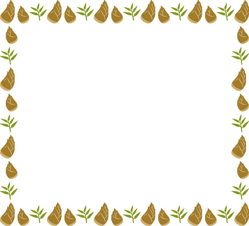 筍(竹の子・たけのこ)と笹の葉のフレーム飾り枠イラスト(W850×H770px)