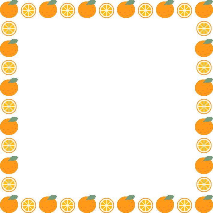 みかん(オレンジ)のフレーム飾り枠イラスト(正方形)